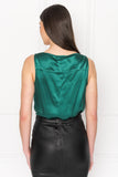 MAY Green V-neck Sleeveless Bodysuit