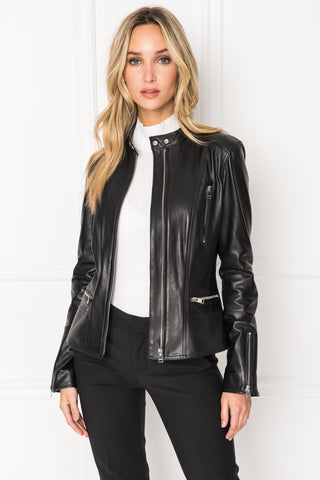 MERYL Black Front Zip Leather Jacket