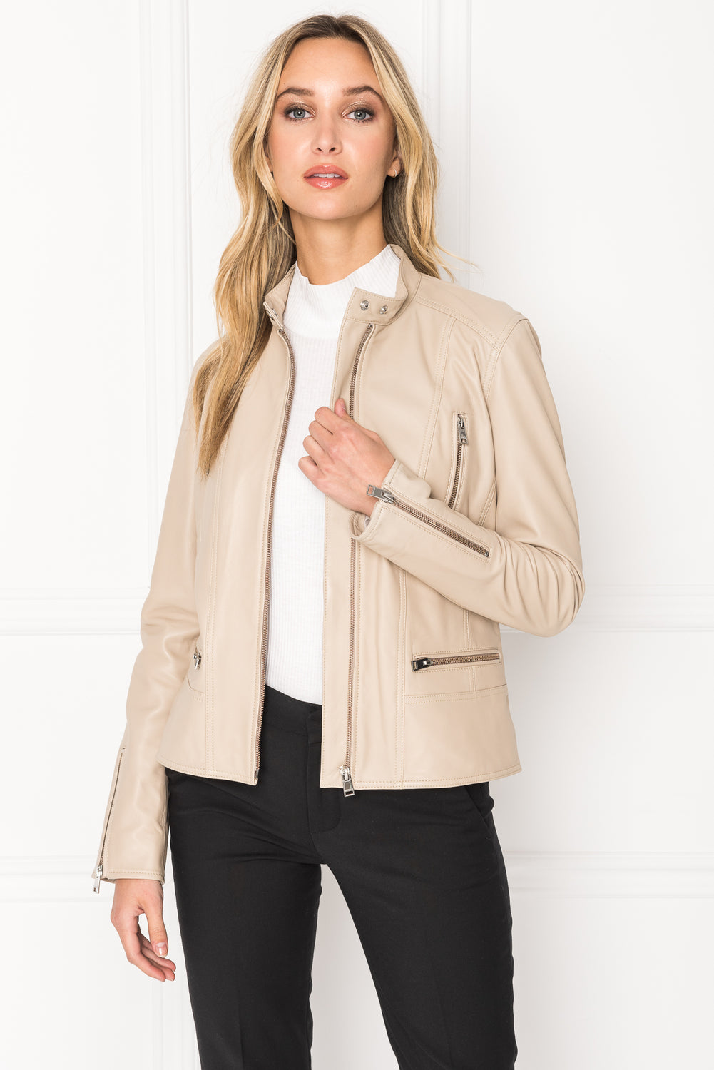 MERYL Desert Front Zip Leather Jacket