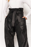 MICAH High Waist Leather Paperbag Pants