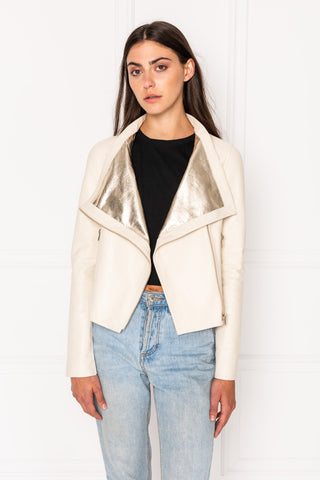 MICHELLE Bone Funnel Neck Leather Biker Jacket