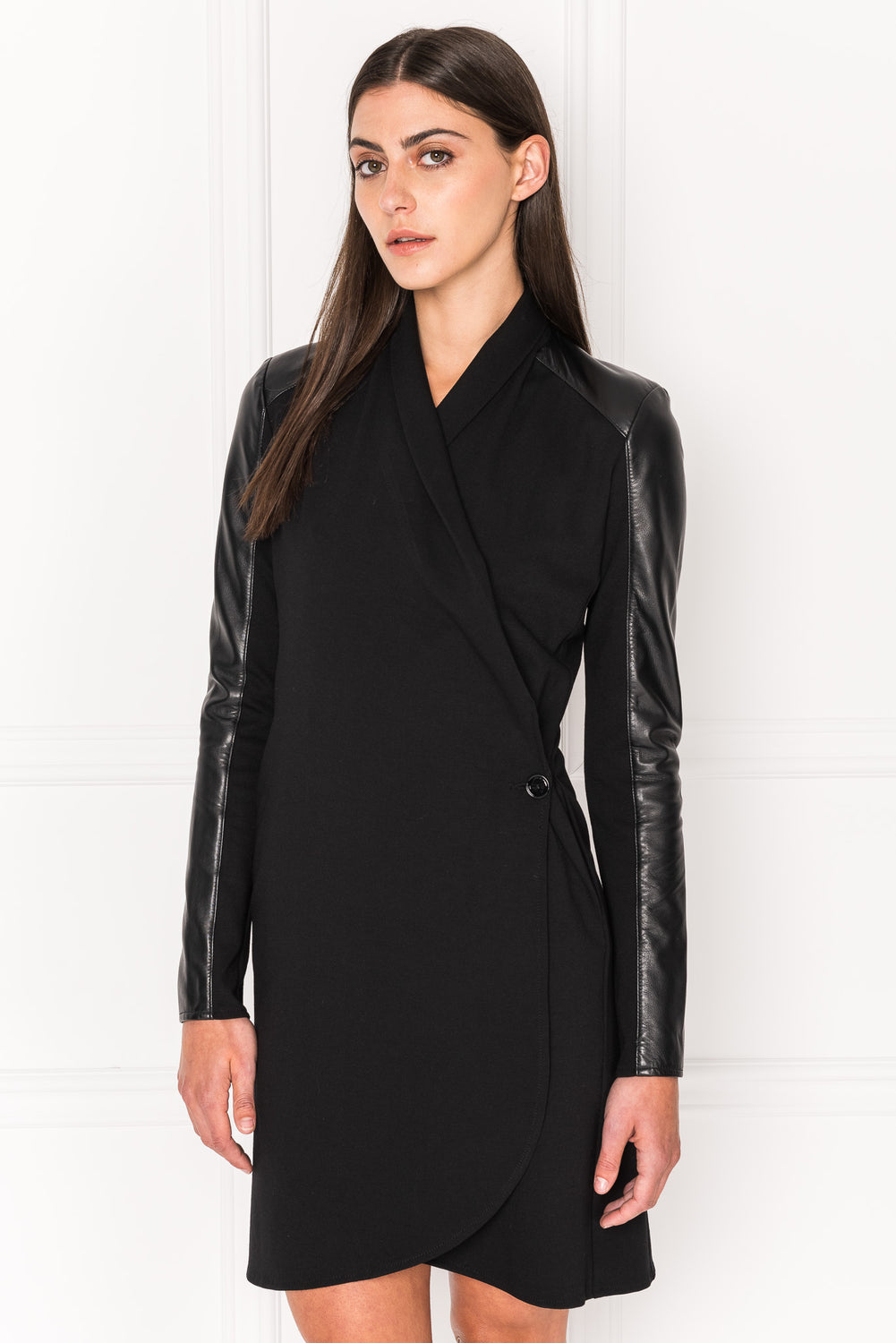 MILA Leather Trimmed Knit Wrap Dress
