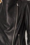 MIRA Black Cascade Collar Leather Jacket
