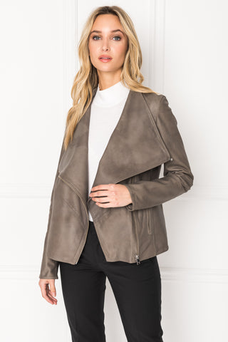 MIRA Grey Cascade Collar Leather Jacket