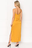NABILA Golden Yellow Silk Slip Dress