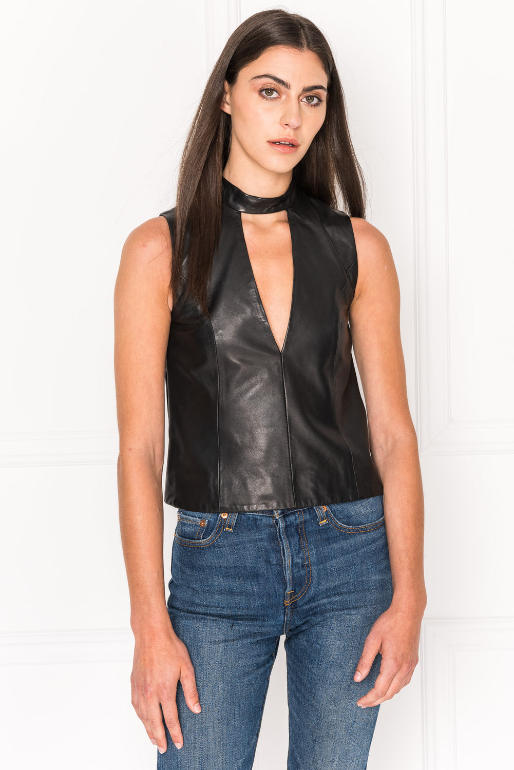 NASHA Chocker V-Neck Sleeveless Leather Top