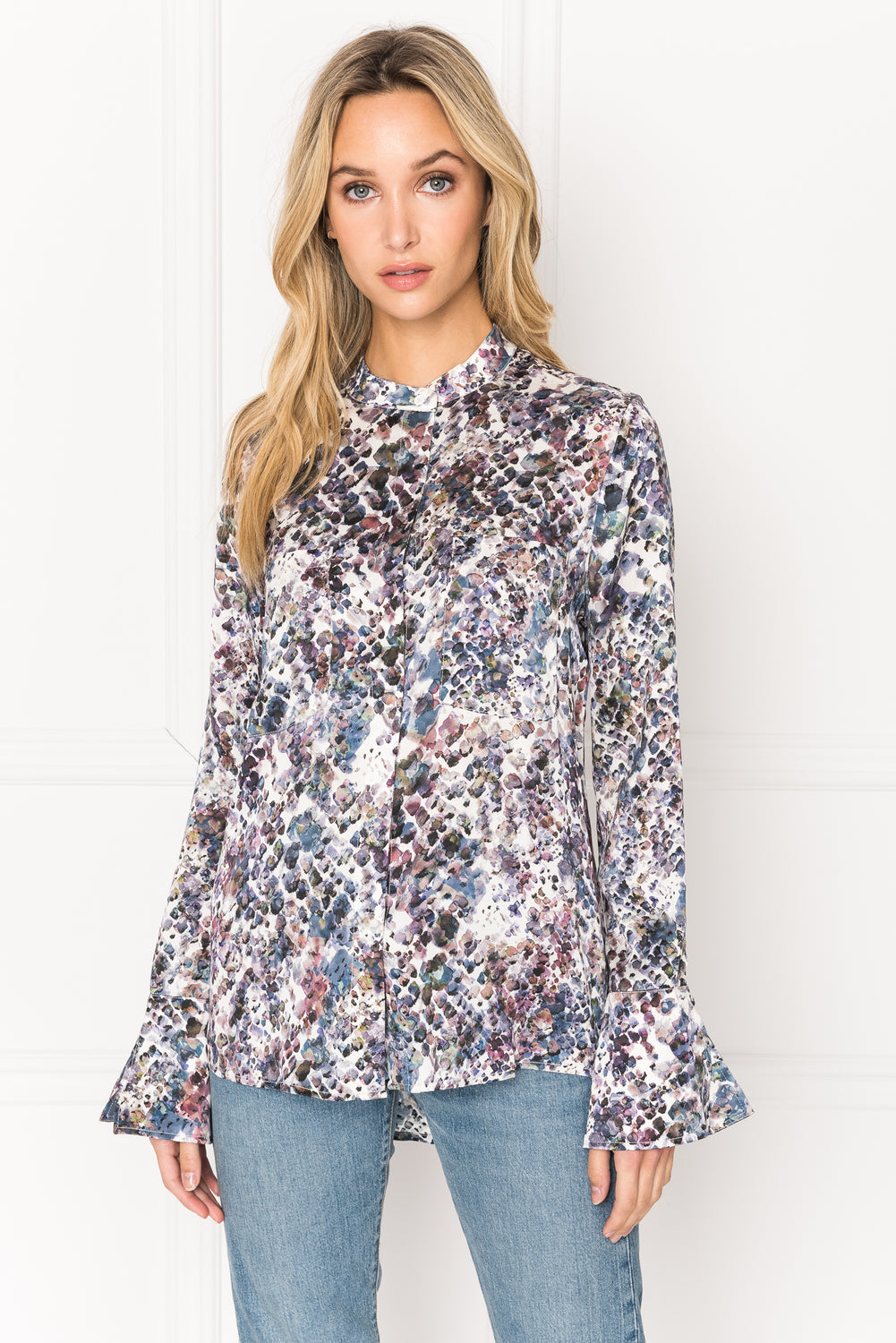 ORLINA Abstract Snake Print Bell Cuffed Button Down Blouse