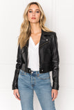 PALOMA Black Crop Leather Cargo Jacket