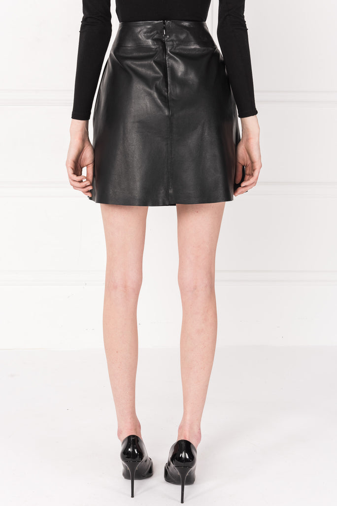 PELA Black Leather A-Line Skirt