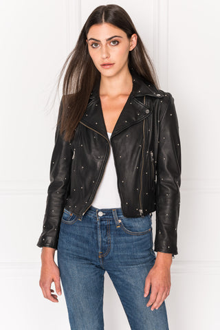 PIPER Black Studded Leather Jacket | PIPER Veste en cuir noir clouté