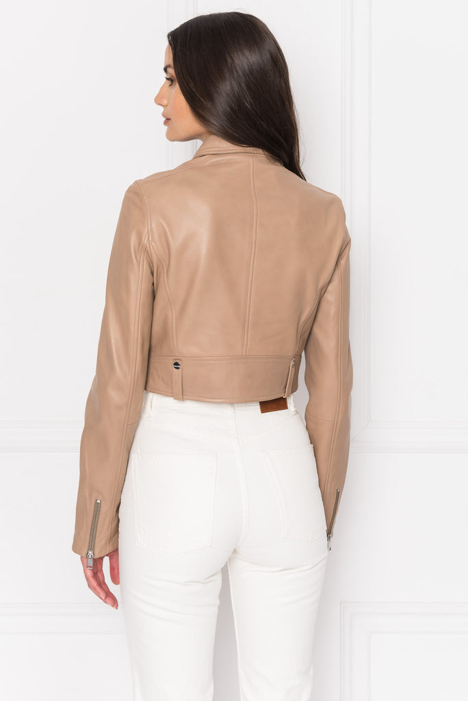 SACHA Camel Crop Leather Jacket