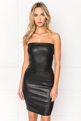 SELIMA Black Stretch Leather Tube Dress
