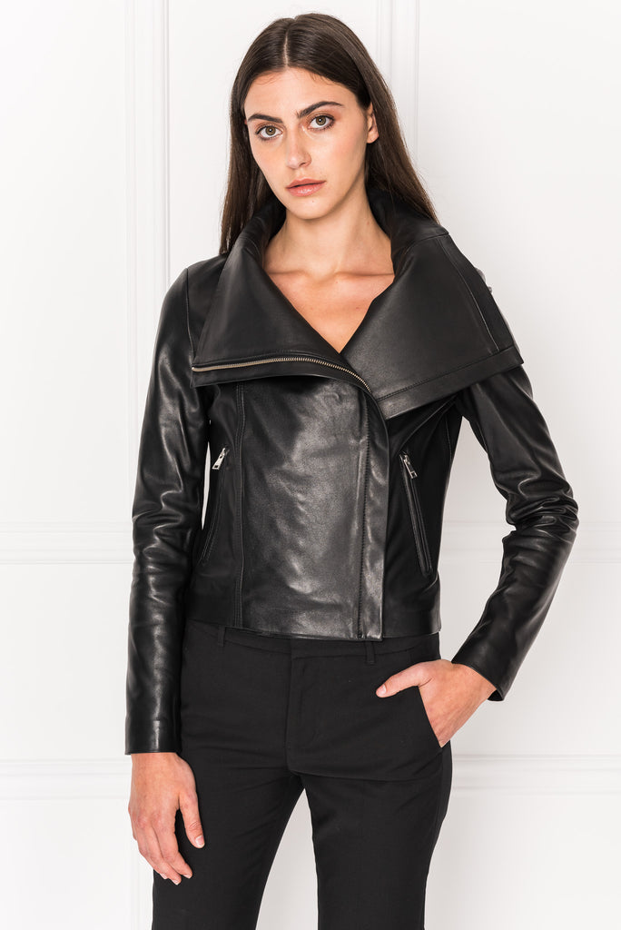 TALIA Black Funnel Neck Leather Jacket