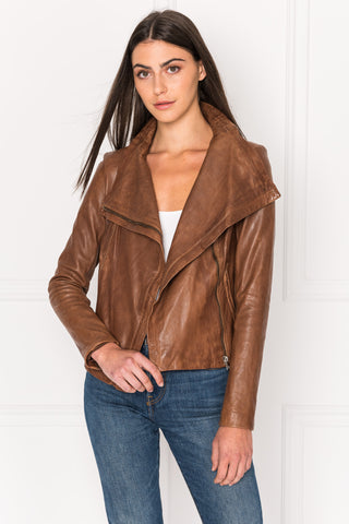 TALIA Luggage Funnel Neck Leather Jacket