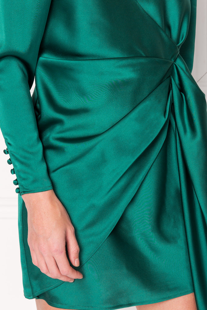 TALLIS Emerald Mini Sash Dress