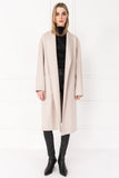 THARA Feather Grey Shawl Collar Wool Coat