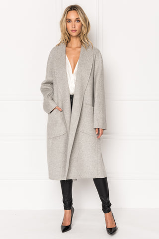 THARA Grey Shawl Collar Wool Coat