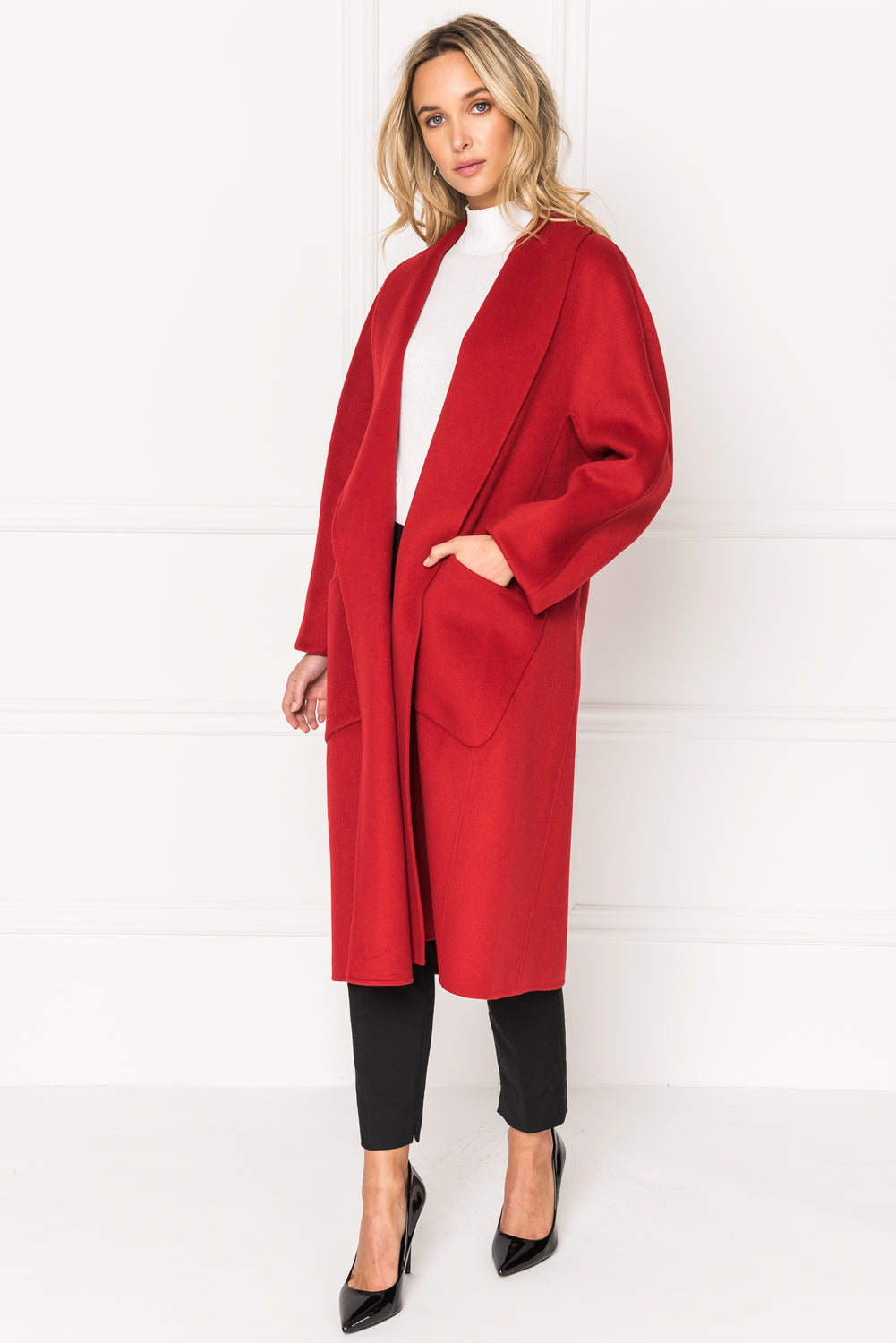 THARA Red Shawl Collar Wool Coat