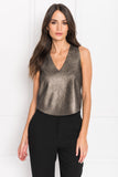 VAILEA Distressed Silver Leather Camisole