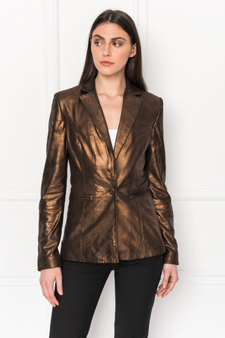 VIOLA Distress Bronze Tailored Leather Blazer