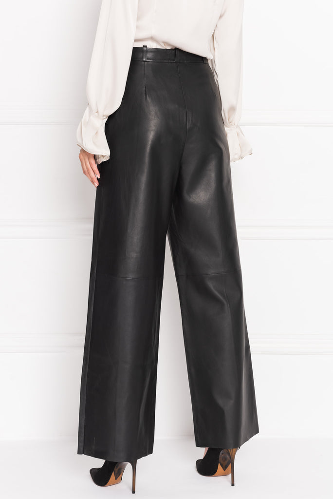 VIRIKA Black Wide Leg Leather Pants