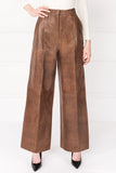 VIRIKA Tan Wide Leg Leather Pants