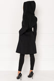 WILLOW Black Belted Wool Coat with Hood