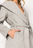 WILLOW Light Grey Belted Wool Coat with Hood