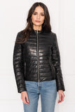 ZAHARA Black Padded Leather Jacket