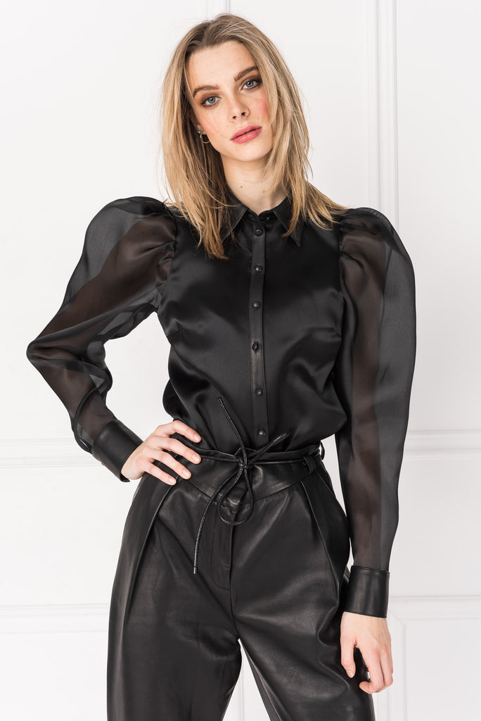 ZARITA Black Organza Leather Blouse