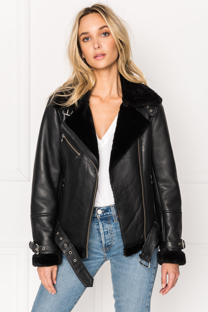 ZOE Black Faux Shearling Leather Biker Jacket