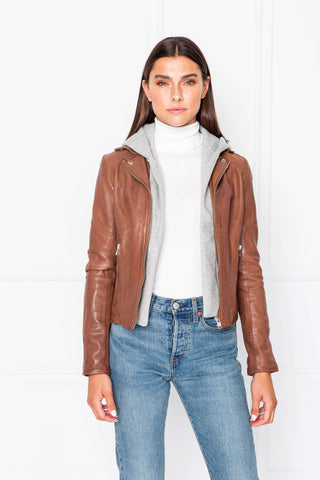 LANNA Luggage Leather Biker Jacket with Removable Hood