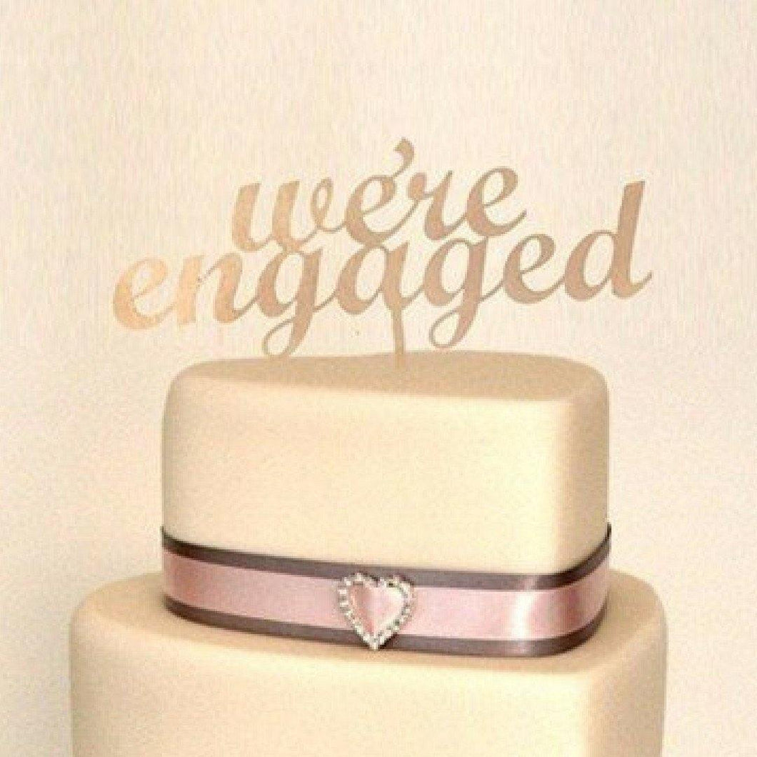 Engagement Cake Topper /Engaged Cake Decoration (Rustic Wedding /Wood) - CHARMERRY