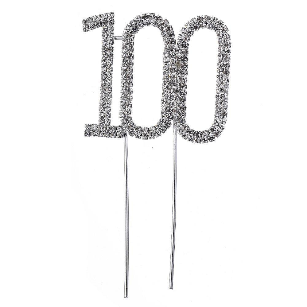 100 Number Crystal Rhinestone /100th Anniversary Cake Topper (FAUX Diamond Diamante)