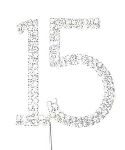 15 Fifteen Number Crystal Rhinestone /15th Anniversary Cake Topper (FAUX Diamond Diamante) - CHARMERRY