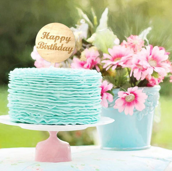 Happy Birthday Cake Topper (Wood Wooden /Moon /Rustic Party Decoration)