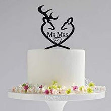 Load image into Gallery viewer, LOVENJOY Gift Boxed Deer Wedding Cake Topper | Buck and Doe, Mr and Mrs (Black) - CHARMERRY