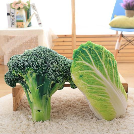 "Creative Stuffed Throw Pillow Gift /Unique Plush Soft Toy (Fun Unusual) [Vegetables /Broccoli 19.7""]"
