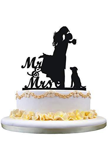 Anniversary/ Engagement/ Wedding Cake Topper with Dog [Silhouette Romantic Groom Hugging & Lifting Bride]