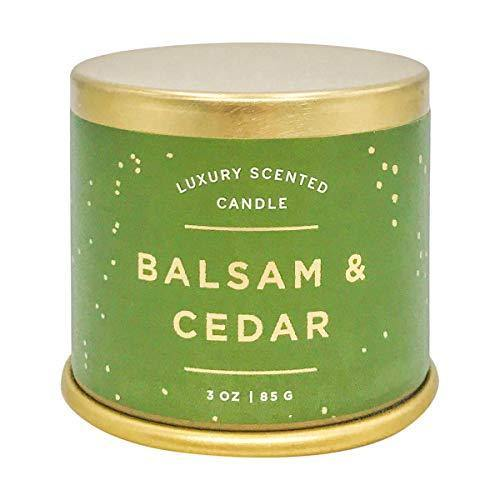 Illume Noble Holiday Collection Balsam & Cedar Demi Vanity Tin, 3 oz Candle - CHARMERRY