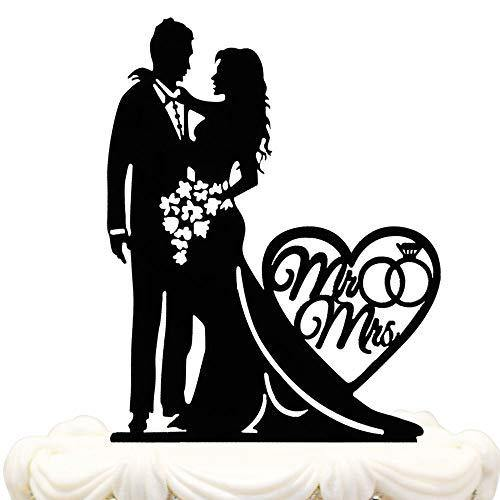 Mr. and Mrs. Acrylic Wedding Cake Topper | Groom and Bride Cake Topper - CHARMERRY