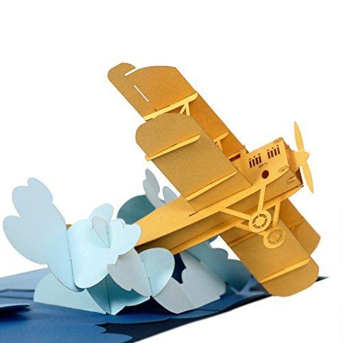 CUTEPOPUP Airplane Pop Up Card with Unique Design, Sophisticated Details Come in Shining Envelope - The Perfect Pilot Present for Your Daddy, Grandpa, Friends on Father's Day or any Occasion. - CHARMERRY