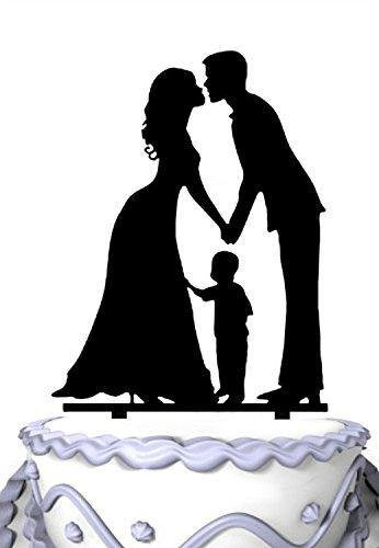 Family Wedding Cake Topper with Child | Bride, Groom with Little Boy | Happy Family Cake Topper - CHARMERRY