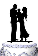 Load image into Gallery viewer, Family Wedding Cake Topper Holding Baby | Engagement or Anniversary - CHARMERRY