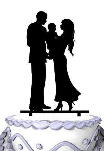 Family Wedding Cake Topper Holding Baby | Engagement or Anniversary - CHARMERRY