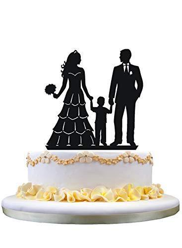 Family Cake Topper | Bride and Groom with Little Boy - CHARMERRY