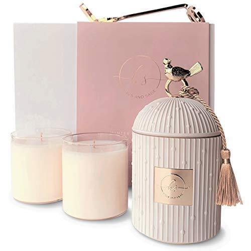 Luxury Candles for Home Scented Candle Gift Set | Candle Holder + 2 Large Soy Candle Refills + Wick Trimmer | Scented Candles Gifts for Women - 4 piece | Fall Candle Centerpieces for Dining Room Table - CHARMERRY