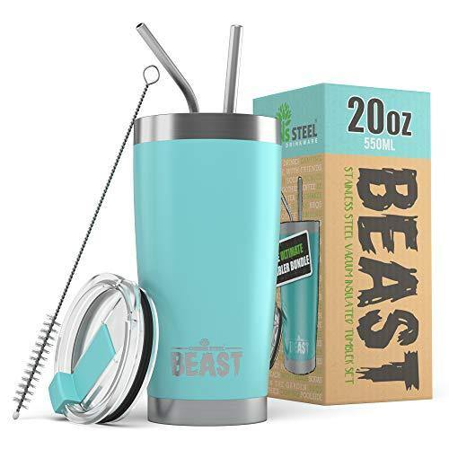 BEAST 20oz Teal Blue Tumbler - Insulated Stainless Steel Coffee Cup with Lid, 2 Straws & Brush by Greens Steel - CHARMERRY