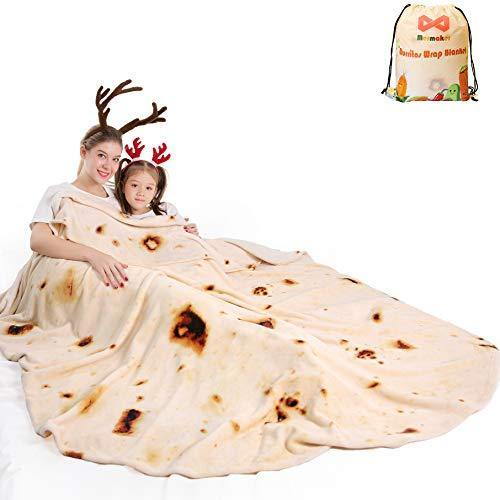 mermaker Burritos Tortilla Blanket 2.0 Double Sided 71 inches for Adult and Kids, Giant Funny Realistic Food Throw Blanket, 285 GSM Novelty Soft Flannel Taco Blanket (Yellow Blanket-Double Sided) - CHARMERRY