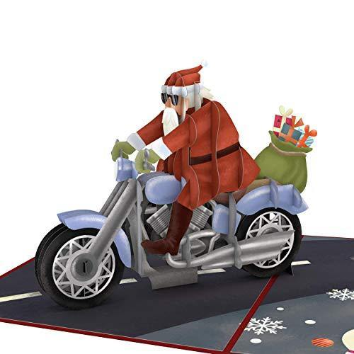 Lovepop Santa Biker Pop Up Card - 3D Card, Christmas Card, Santa Pop Up Card, Pop Up Christmas Card, Holiday Greeting Card, Santa Greeting Card - CHARMERRY